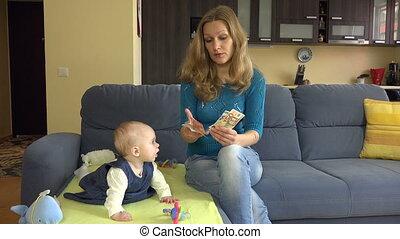 bébé, compte, maman, euro