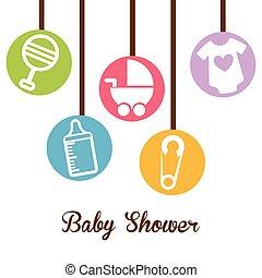 bébé, conception, douche