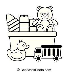 bébé, conception, jouets