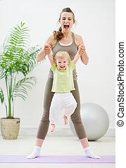 bébé, confection, gymnastique, mère
