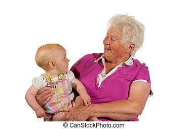 bébé, confiant, jeune, grand-maman