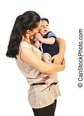 bébé, conversation, mère, fils