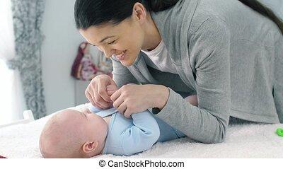 bébé, conversation, mère