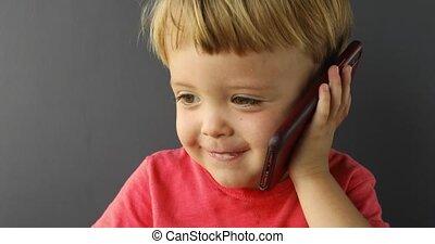 bébé, conversation, mobile, garçon, téléphone