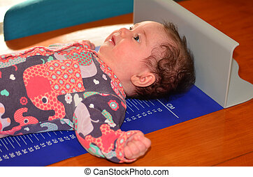 bébé, corps, nourrisson, examen, hauteur