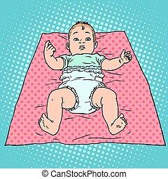 bébé, couche, surpris