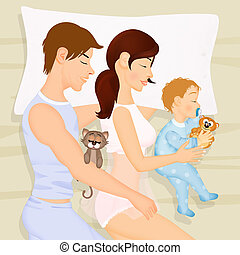 bébé, couple, lit, dormir