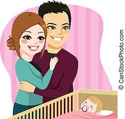 bébé, couple, regarder, dormir