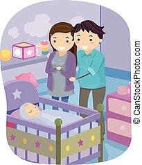bébé, couple, stickman