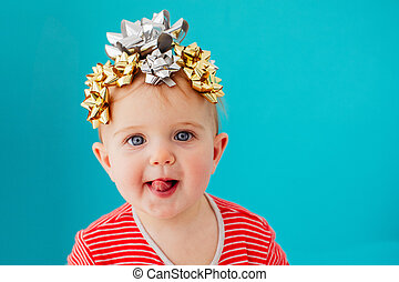 bébé, décoré, arc don