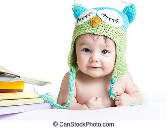 Rigolote hibou tricoté fond bébé chapeau blanc
