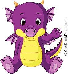 bébé, dessin animé, dragon, mignon