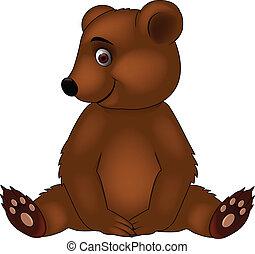 bébé, dessin animé, ours