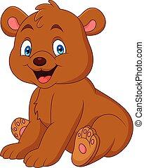 bébé, dessin animé, ours, heureux