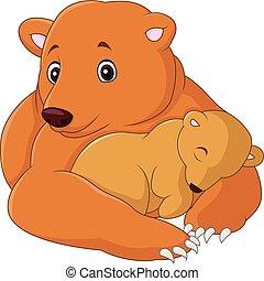 bébé, dessin animé, ours, mère