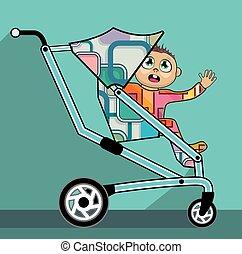 bébé, dessin animé, poussette