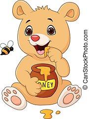 bébé, dessin animé, rigolote, ours