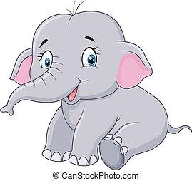 bébé, dessin animé, séance, éléphant