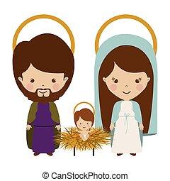 bébé, dessin animé, sacré, famille, jésus
