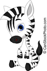 bébé, dessin animé, zebra, mignon