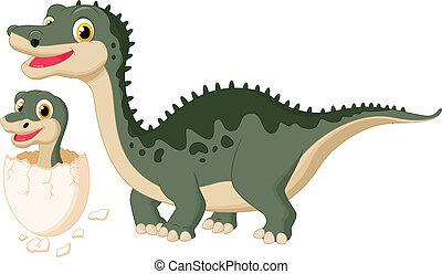 bébé, dinosaure, hachure, mère