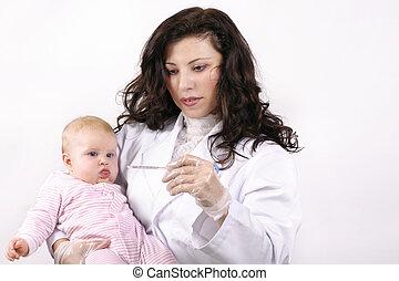 bébé, docteur, thermomètre