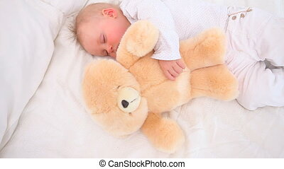 bébé, dormir, ours, teddy