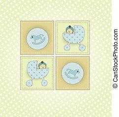 bébé, doux, carte, accueil