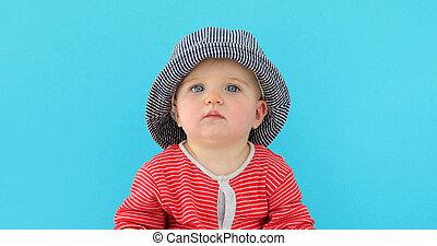 bébé, doux, chapeau, été
