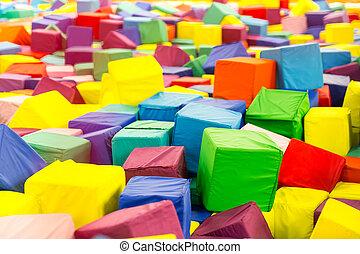 bébé, doux, cubes, closeup, coloré