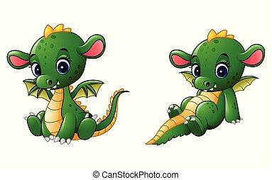 Bébé Dessin Animé Dragon Mignon Illustration Dessin