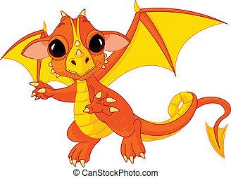 bébé, dragon, dessin animé