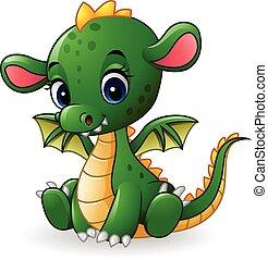 bébé, dragon, dessin animé, séance