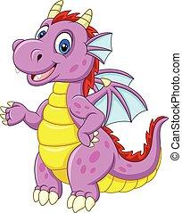 bébé, dragon, présentation, dessin animé