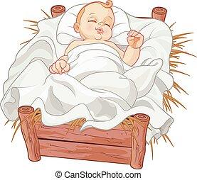 bébé, endormi, jésus