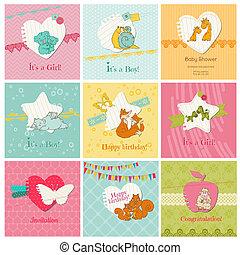 bébé, ensemble, coloré, -, arrivée, vecteur, anniversaire,...