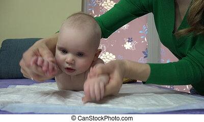 bébé, exercice, mère
