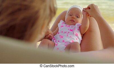 bébé, extérieur, exercice, maman
