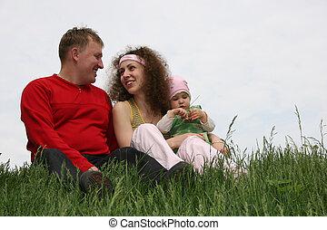 bébé, famille herbe