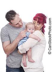 bébé, famille, heureux