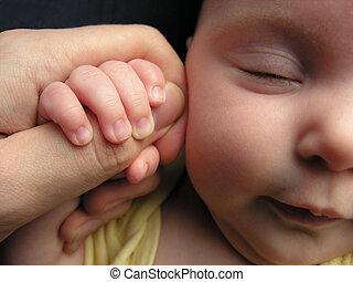 bébé, father\'s, sommeil, doigt