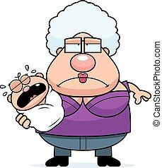 bébé, fatigué, dessin animé, grand-maman