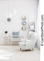 bébé, fauteuil, salle