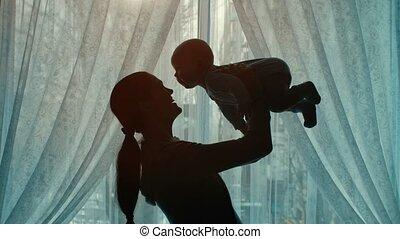 bébé, femme, jouer