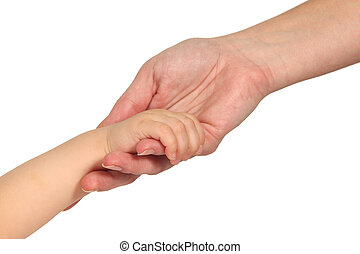 bébé, femme, mains