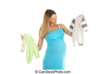 bébé, femme, pregnant, achat vêt