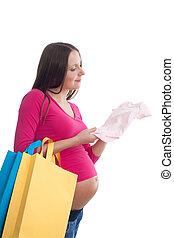 bébé, femme, pregnant, choisir, vêtements