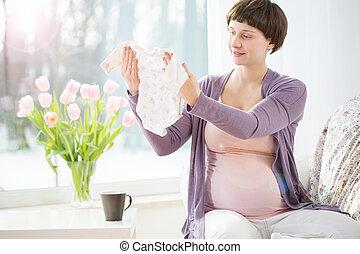bébé, femme, pregnant, vêtements