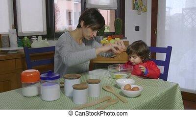 bébé, femme, style de vie, cuisine