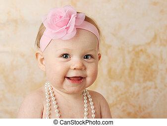 bébé, fille souriante, joli
